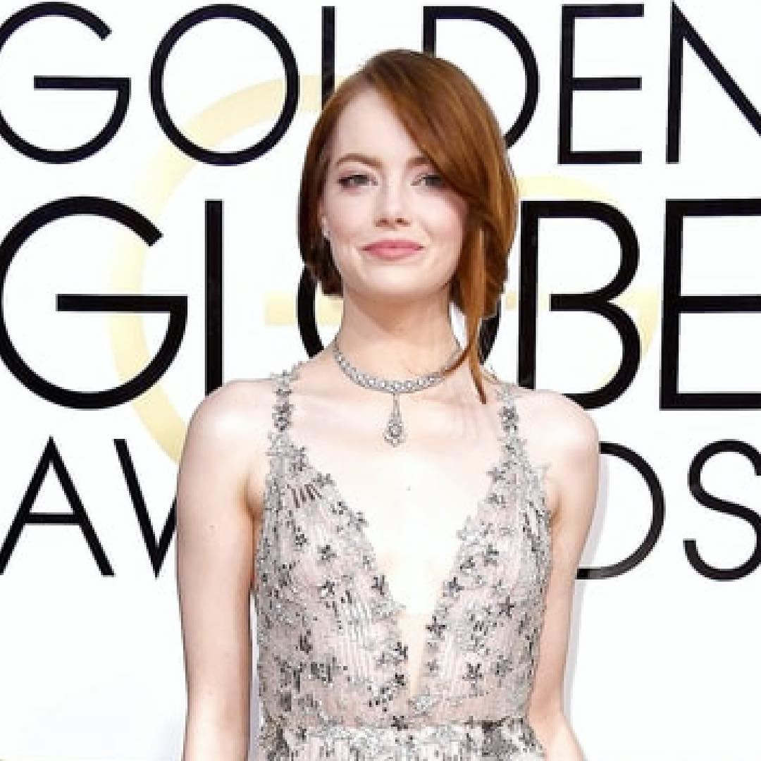 The La La Land actress looked stunning in this sparklyhellip