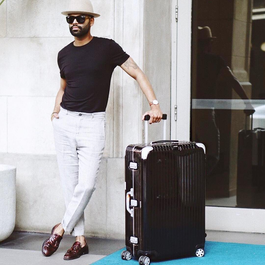 stylebykish looks dapper on his travels with a rimowa inhellip